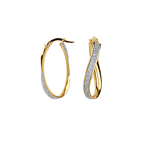 14k Yellow Gold Sm Glitter Twist Hoops