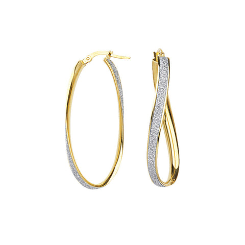 14k Yellow Gold Lg Glitter Twist Hoops