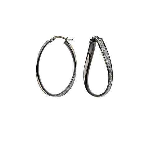 Sterling Silver Glitter Twist Hoops (Dark)