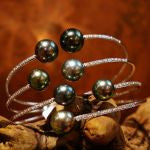 18k White Gold and Diamond Tahitian Pearl Bracelet