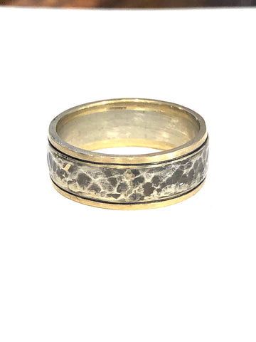 14k Yellow Gold and Sterling Silver Ring