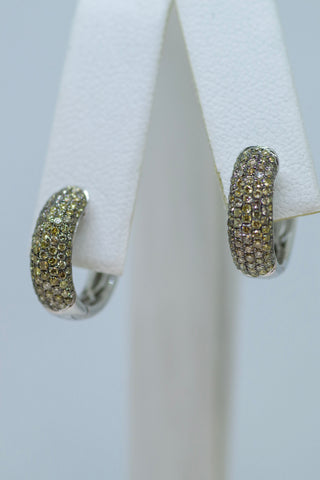 14k White Gold Pave' Diamond Huggies