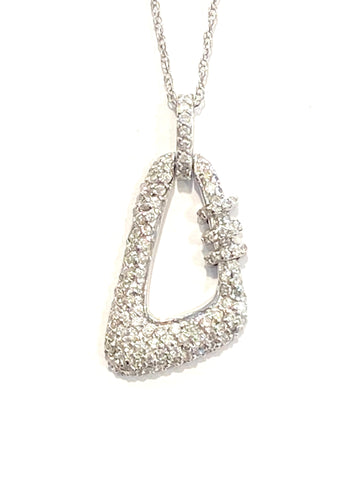 14k White Gold Pave' Diamond Pendant