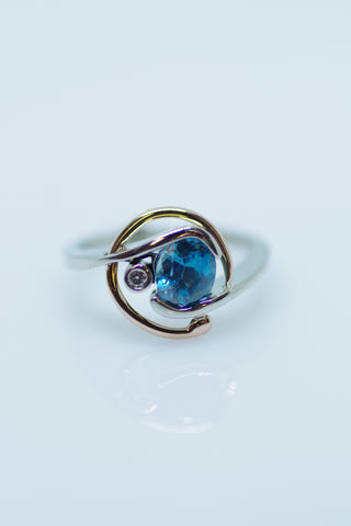 14k White and Rose Gold Blue Zircon and Diamond Ring