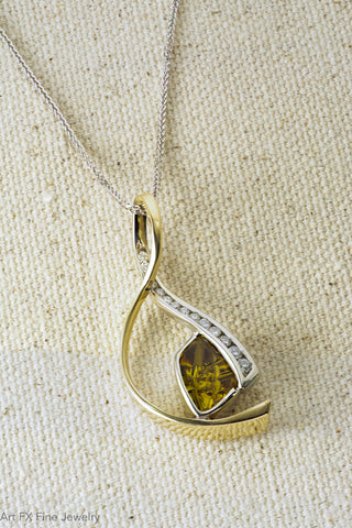 14k Two-Tone Yellow Tourmaline and Diamond Pendant