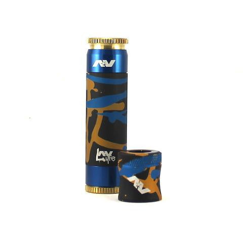 Splatter Sleeve Black Glod Blue with Matching Captain Cap ABLE COMPETITION MECH MOD by AVID LYFE vaps shop wii vape toronto gta york ontario canada dash vapes