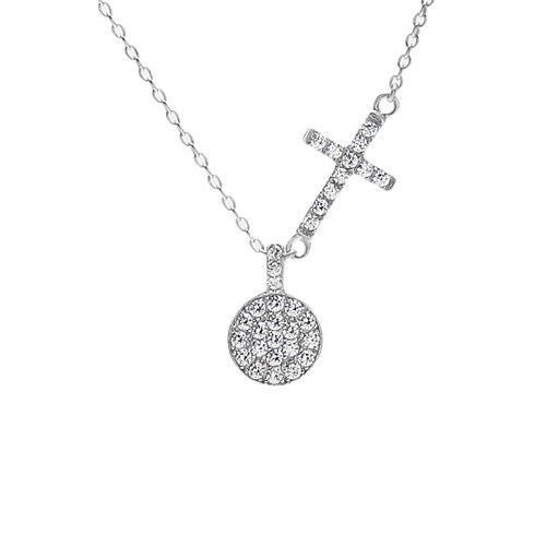 Sparkly sterling silver cz cross and circle pendant necklace sparkly 033 carat cz cross and circle pendant necklace wholesale 925 sterling silver pendant aloadofball Images