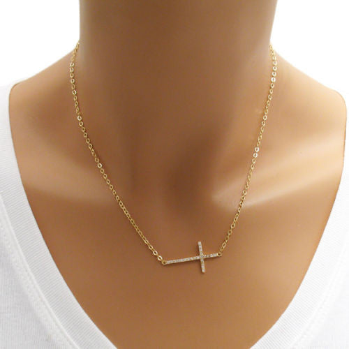 Chic sterling silver cross pendant necklace with 025 ct cz 14k gold plated 023 carat micro pave cz cross pendant necklace wholesale 925 sterling aloadofball Images
