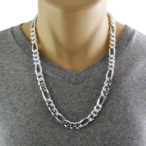 925 Sterling Silver Figaro Chain Necklace 11mm Gauge 300