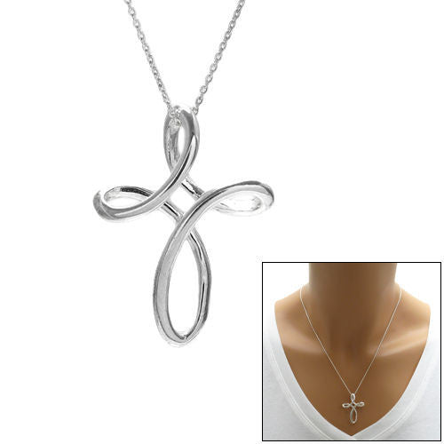 Stylish sterling silver twisting design cross pendant 31mm stylish twisting design cross pendant 31mm wholesale 925 sterling silver pendant jewelry aloadofball Image collections