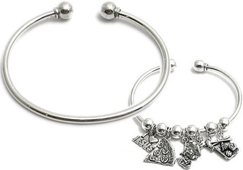 Sterling Silver Charm Cuff Bangle Bracelet 3 Lengths
