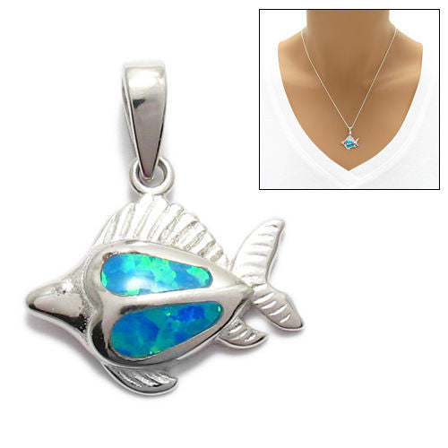 Charming sterling silver created opal fish pendant wholesale charming created opal fish pendant wholesale 925 sterling silver pendant main mozeypictures Image collections