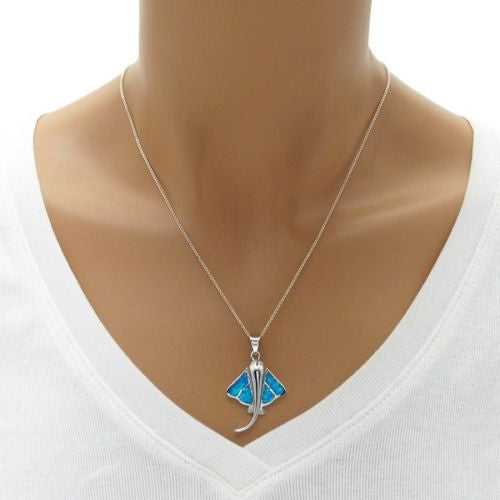 Playful sterling silver stingray pendant w created opal wholesale playful stingray pendant with created blue opal inlay wholesale 925 sterling silver pendant jewelry mozeypictures Gallery