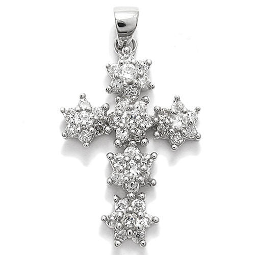 Elegant sterling silver cross pendant with cz stars design elegant cross pendant with 21 carat multi cz stars design wholesale 925 sterling silver aloadofball Gallery