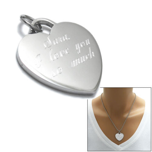 Adorable Stainless Steel Engravable Heart Pendant with 24