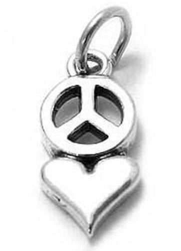 Sterling Silver Heart And Peace Symbol Charmwholesale Tommyway