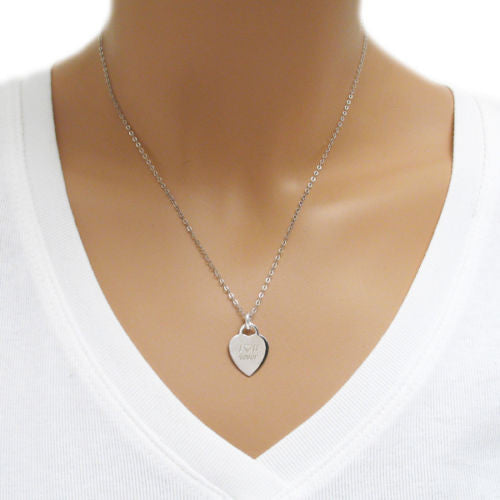 Sterling silver engravable medical pendant wnecklace option engravable heart pendant with i u 4ever 16mm wholesale sterling silver jewelry aloadofball Images