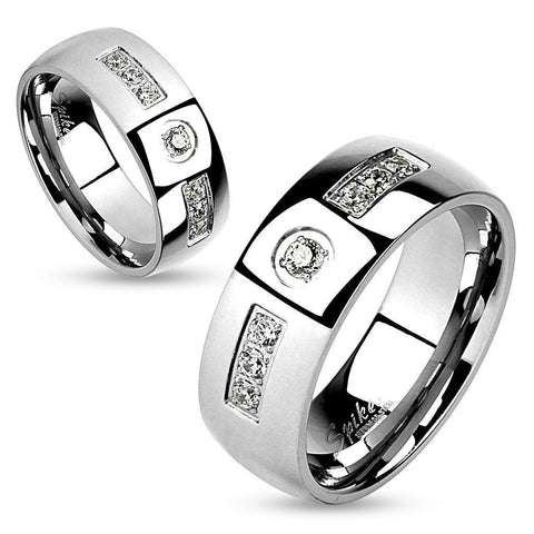 large center cz stone with 6 accent czs wholesale stainless steel rings jewelry