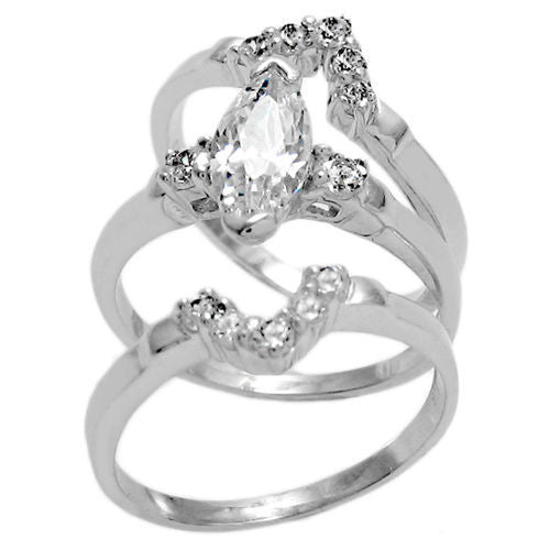 Sterling Silver Marquise Cz 3 Band Engagement Wedding Ring