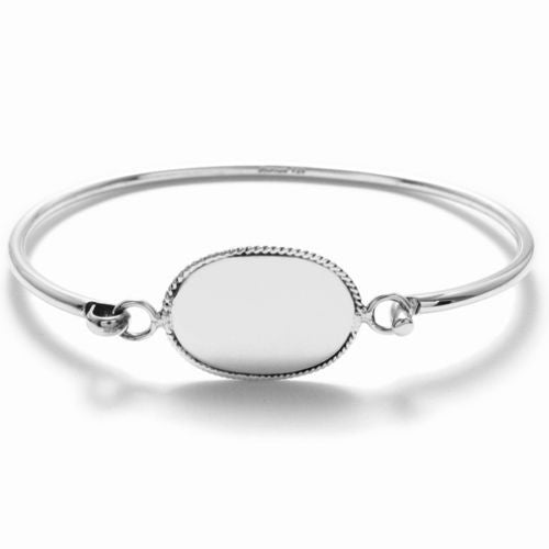 bracelet with oval bracelets personalized engraving engraved children htm for bangle silver bangles front puffed