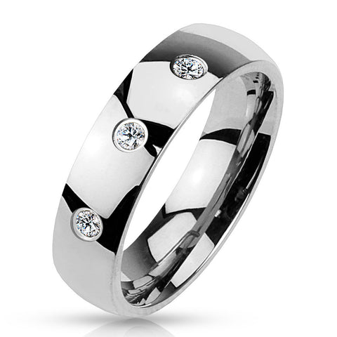 wedding band with 3 czs in mirror polished finish wholesale stainless steel rings jewelry