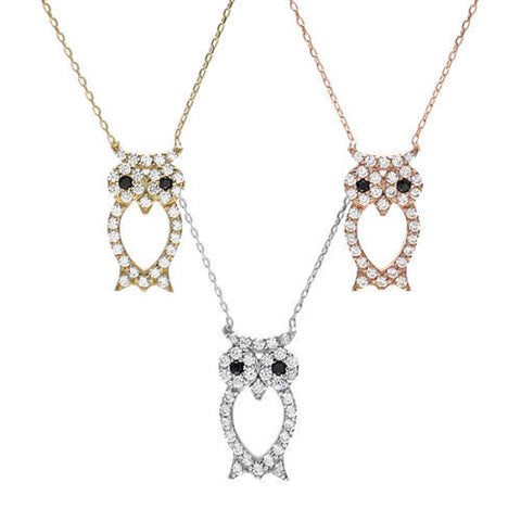 Pendant necklaces tommyway luxurious sterling silver owl pendant necklace with czs available in 3 colors mozeypictures Image collections