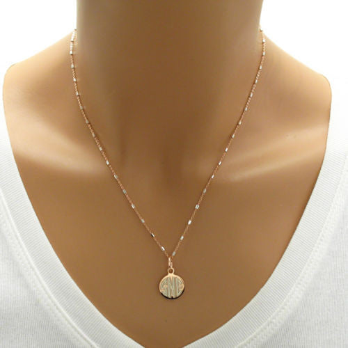 Rose Gold Plated Sterling Silver Round Pendant Necklace Wholesale