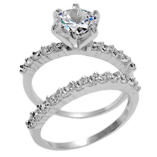 1172dbd3bf4 Sterling Silver 2-Band Engagement Wedding Ring Set Round Cut ...