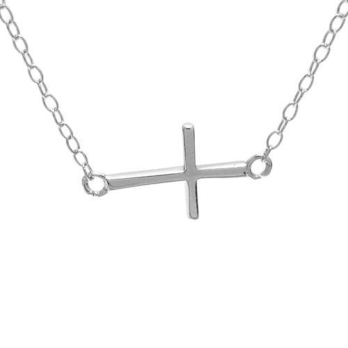 Chic sterling silver small sideways cross pendant necklace chic and small sideways cross pendant necklace wholesale 925 sterling silver pendant jewelry mozeypictures Images
