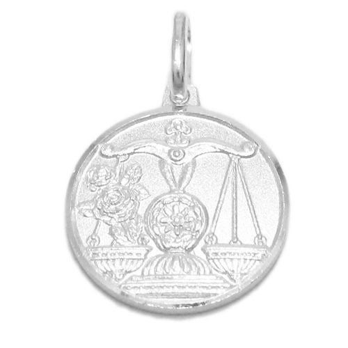 Sterling silver small zodiac sign on medallion pendant charm small zodiac sign on medallion pendant charm libra wholesale 925 sterling silver pendant aloadofball Choice Image