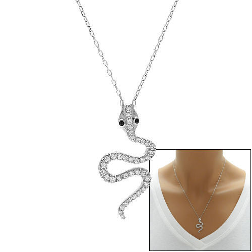Rose gold plated sterling silver round pendant necklace wholesale amazing snake pendant necklace with black eyes and radiant czs wholesale 925 sterling silver pendants mozeypictures Choice Image
