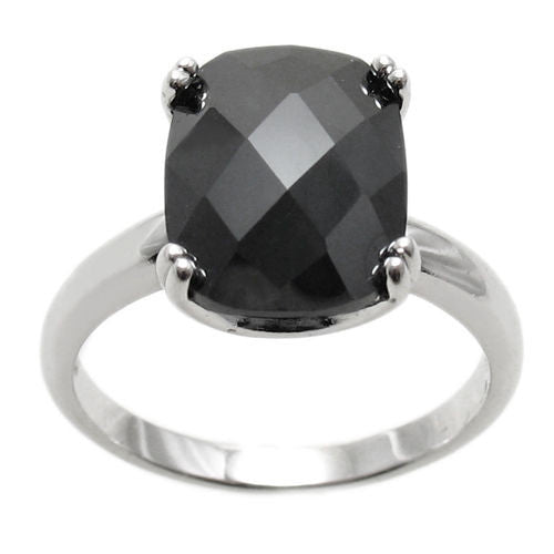 cd1d0e417130c Spectacular Ring with Black Obsidian Colored Rectangular 10x14mm CZ  Solitaire in Sterling Silver.