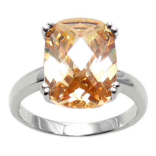 e381a74bea43e Spectacular Ring with Champagne Colored Rectangular 10x14mm CZ Solitaire in  Sterling Silver.