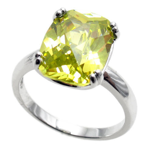 8c8e3a5d4b0ef Spectacular Ring with Lime / Peridot Colored Rectangular 10x14mm CZ  Solitaire in Sterling Silver.