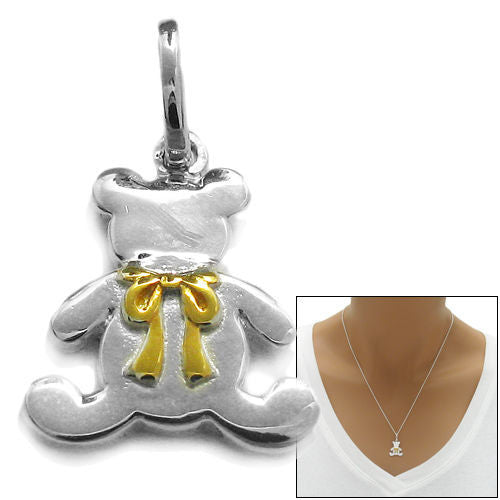 Sterling silver teddy bear with gold ribbon design pendant lovable teddy bear with gold ribbon design pendant wholesale 925 sterling silver pendants main aloadofball Gallery