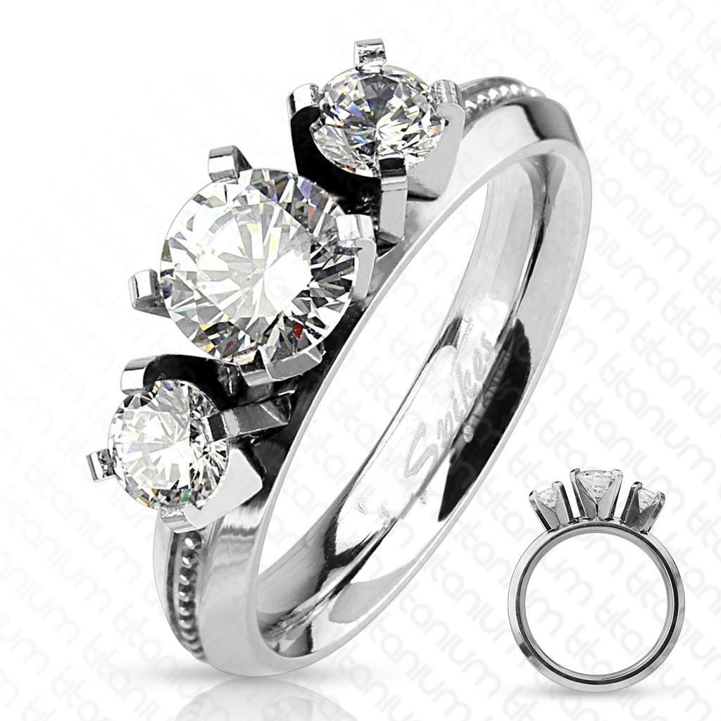 Beautiful Titanium 1.5 Carat CZ Milled Band 3 Stone Engagement Ring |  Wholesale Titanium Rings
