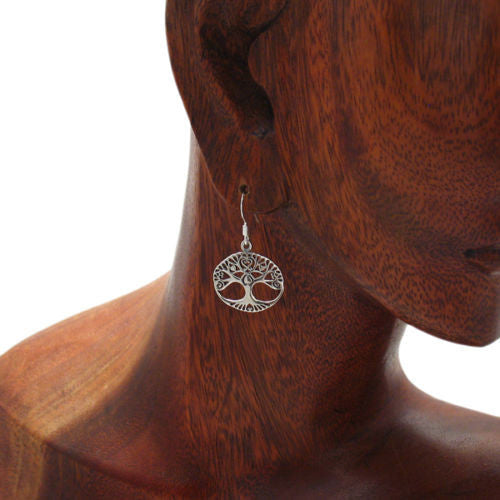 6c340606d ... Tree of Life hanging earrings with heart branches | Wholesale 925 Sterling  Silver Jewelry | Alternate
