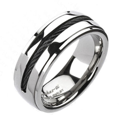 Mirror Polished Titanium Ring With Black Cable Inlay And Stepped Edges