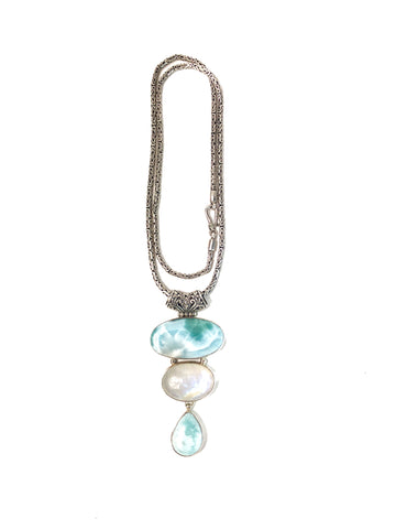 Larimar and Moonstone Priestess Necklace
