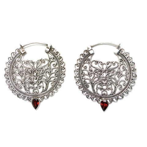 Sacred Garnet Silver Earrings