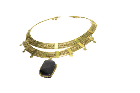 Brass Stone Collar Set