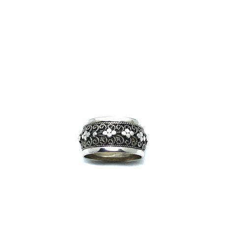 Traditional Balinese 92.5 sterling silver ring with graceful tendrils, granules embellishment, and oxidized finish.