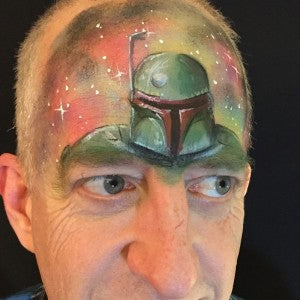 Bounty hunter-inspired face painting mask