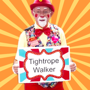 Tightrope Walker Clown Skit with Juggles