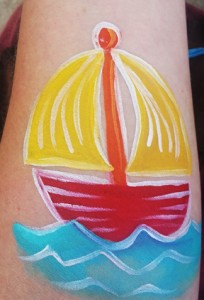How to face paint a quick and easy Sail Boat