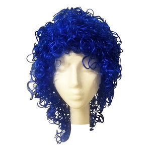 West Bay Wet Look Curly Wig - Royal Blue