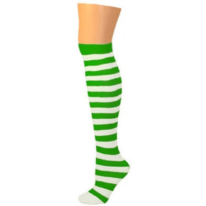 Child Thigh High Ragdoll Socks - Green/White