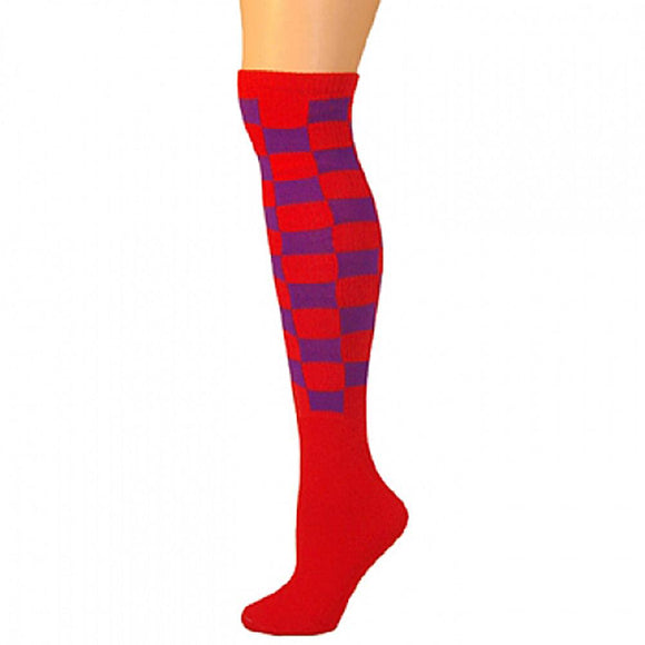 Checkered Knee Socks - Red/Purple