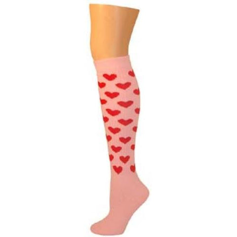 Heart Knee Socks - Light Pink w/ Red Hearts