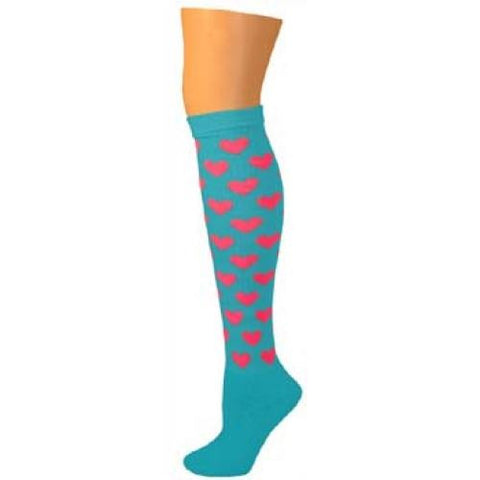 Heart Knee Socks - Turquoise w/ Hot Pink Hearts
